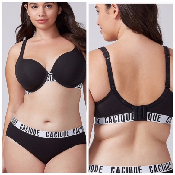 Cacique Other - Cacique black lightly lined t shirt logo bra